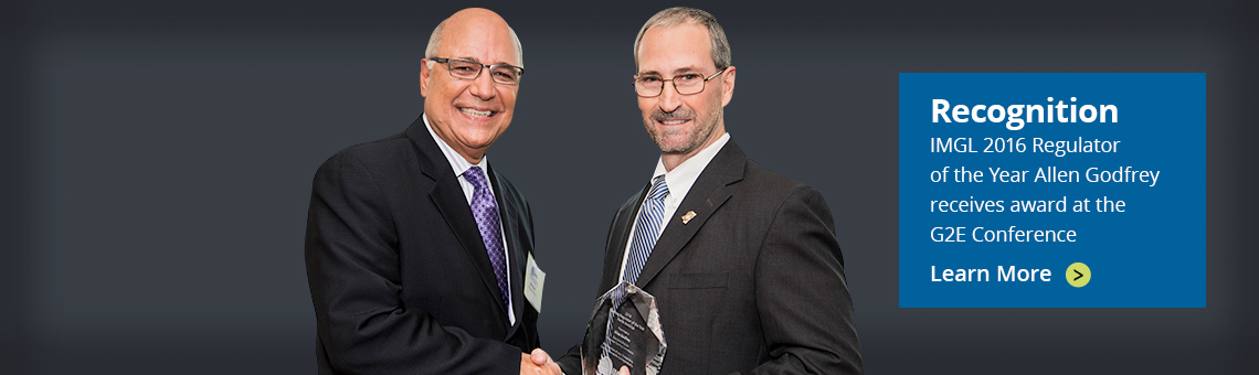 IMGL Regulator of the Year 2016 - Allen Godfrey receives the award from Mike Zatezalo